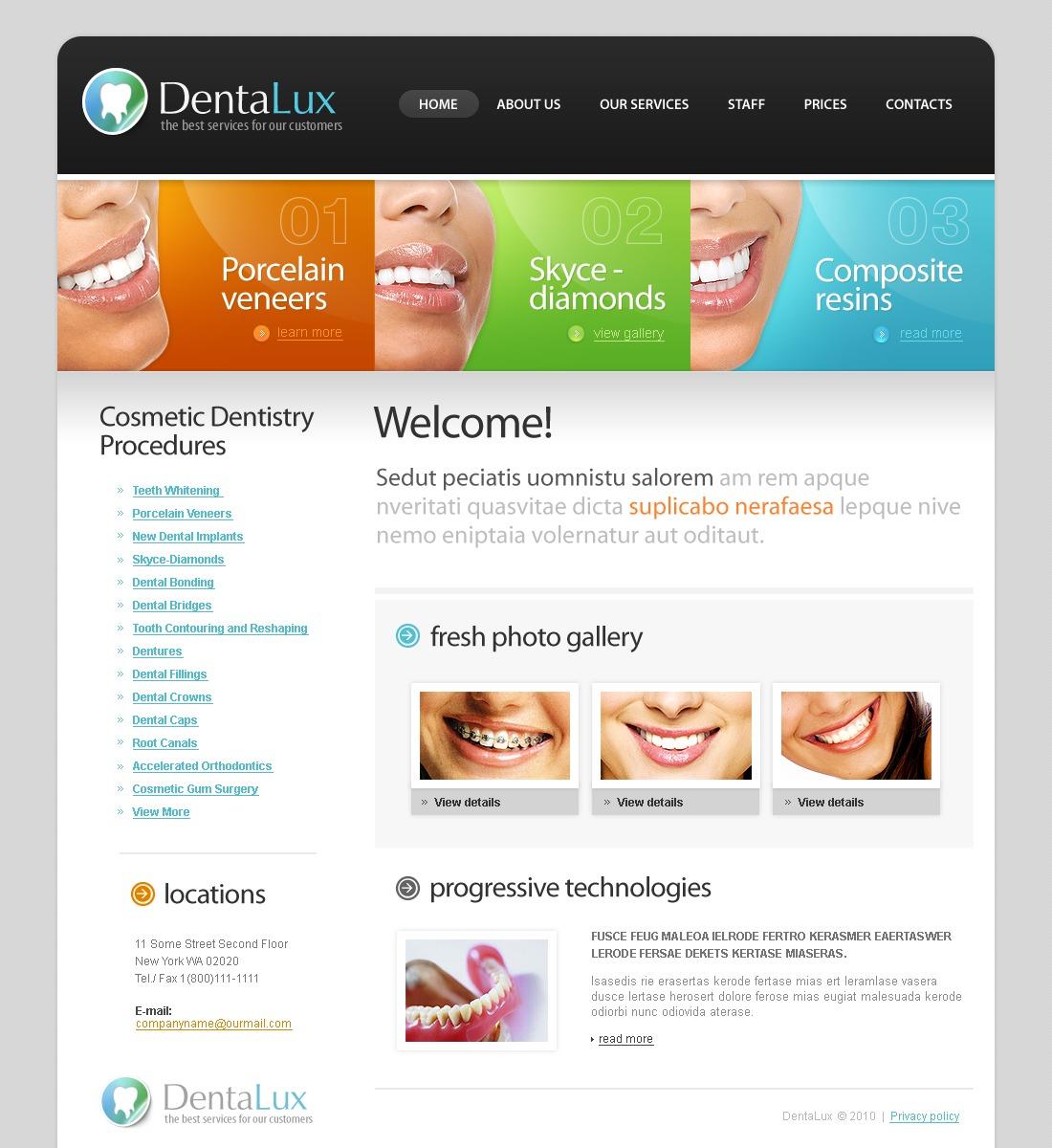 Modello siti web per un sito di odontoiatria for Siti web di costruzione domestica