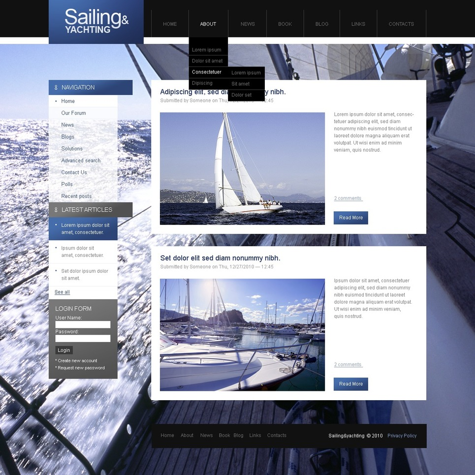 Yachting Drupal Template New Screenshots BIG