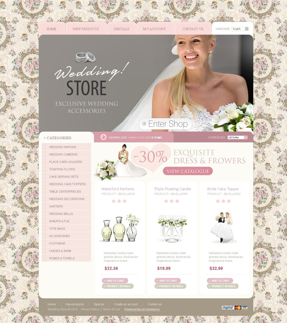 Wedding Shop OsCommerce Template New Screenshots BIG