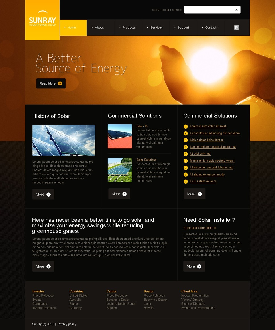 Solar energy website template web design templates for Home page design ideas