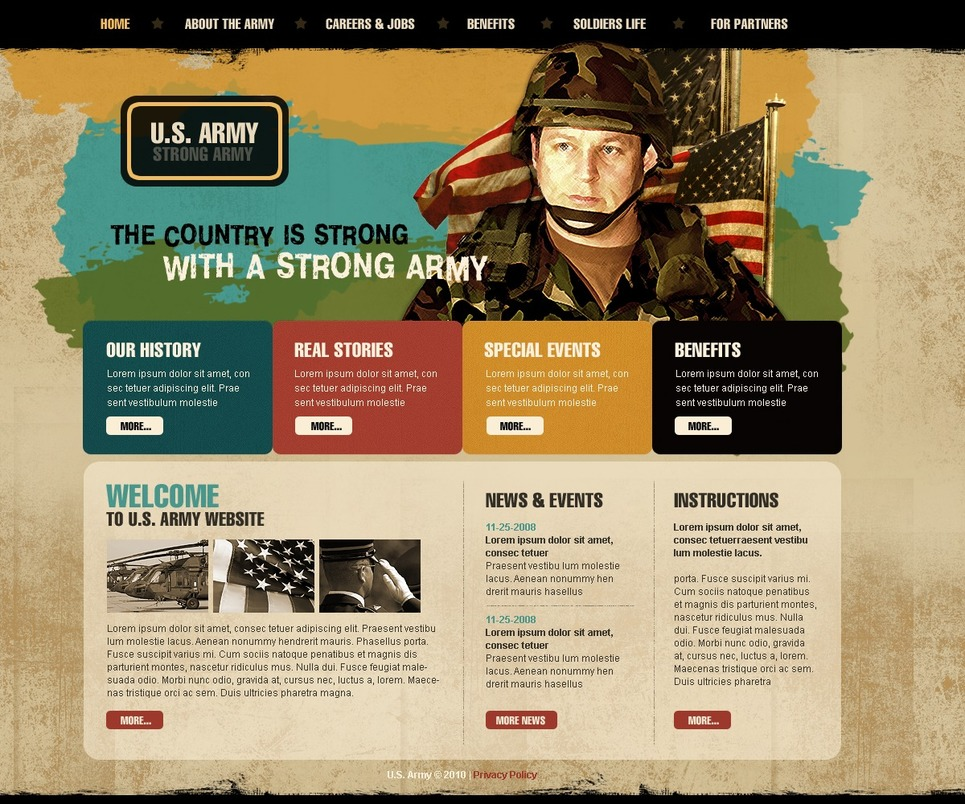 Army Website Template New Screenshots BIG