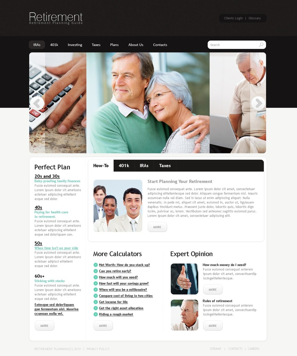 Retirement Planning Website Template New Screenshots BIG