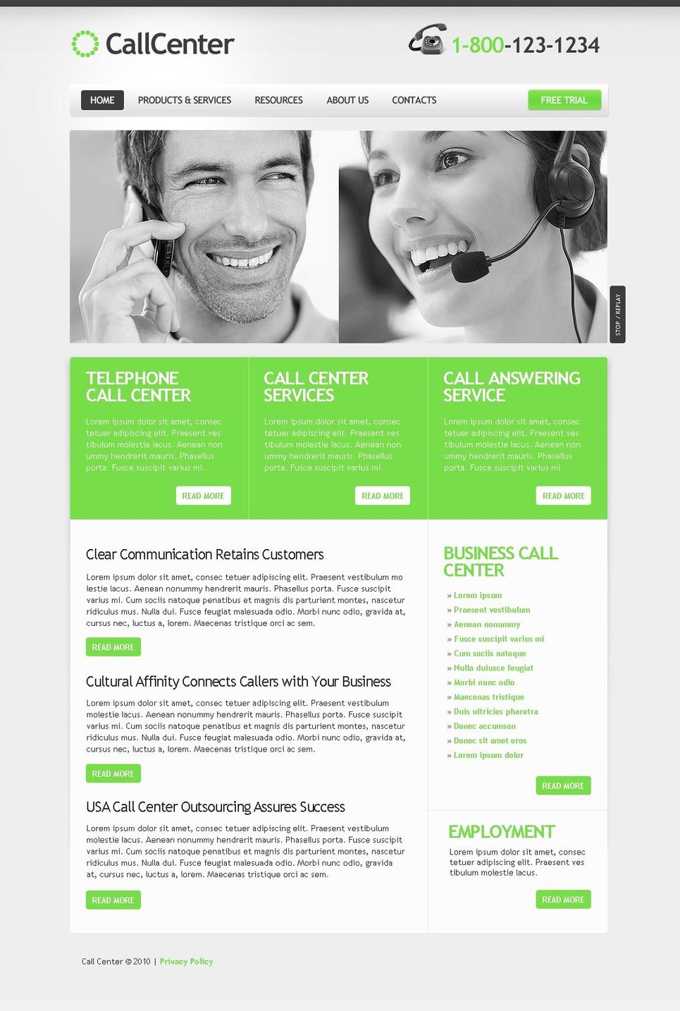 Call Center Website Template New Screenshots BIG