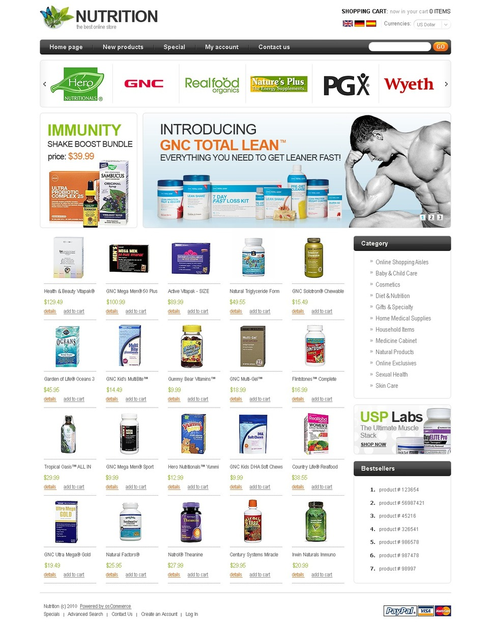 Nutrition Store OsCommerce Template New Screenshots BIG