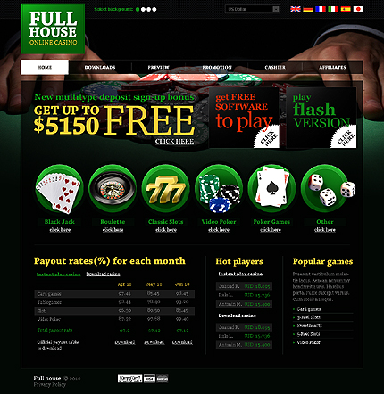 Бесплатный шаблон сайта интернет-казино игровые слоты скачать на компютер