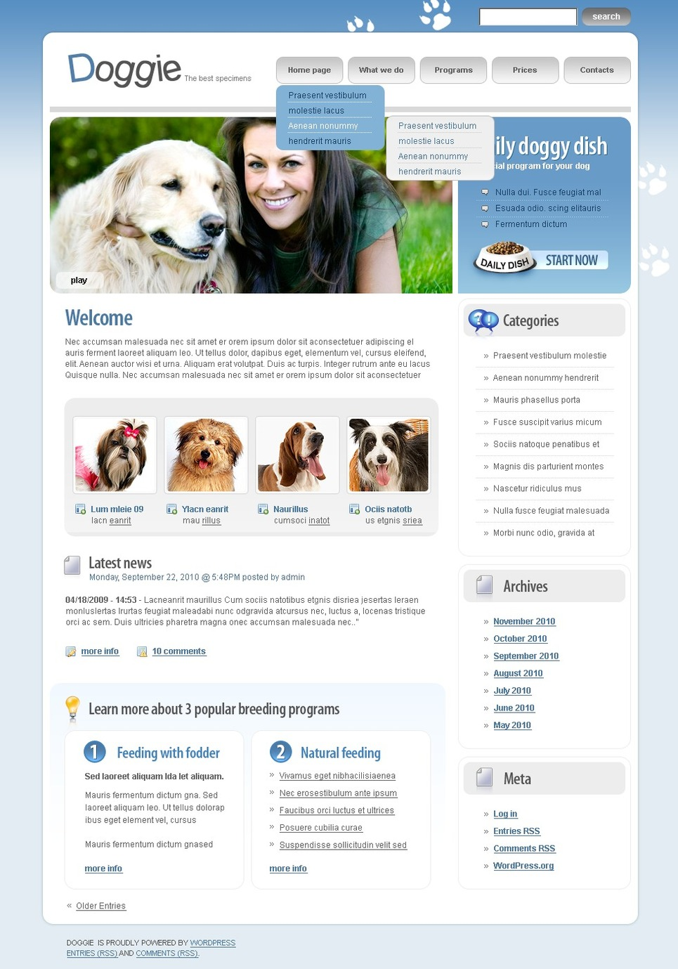 Dog WordPress Theme New Screenshots BIG