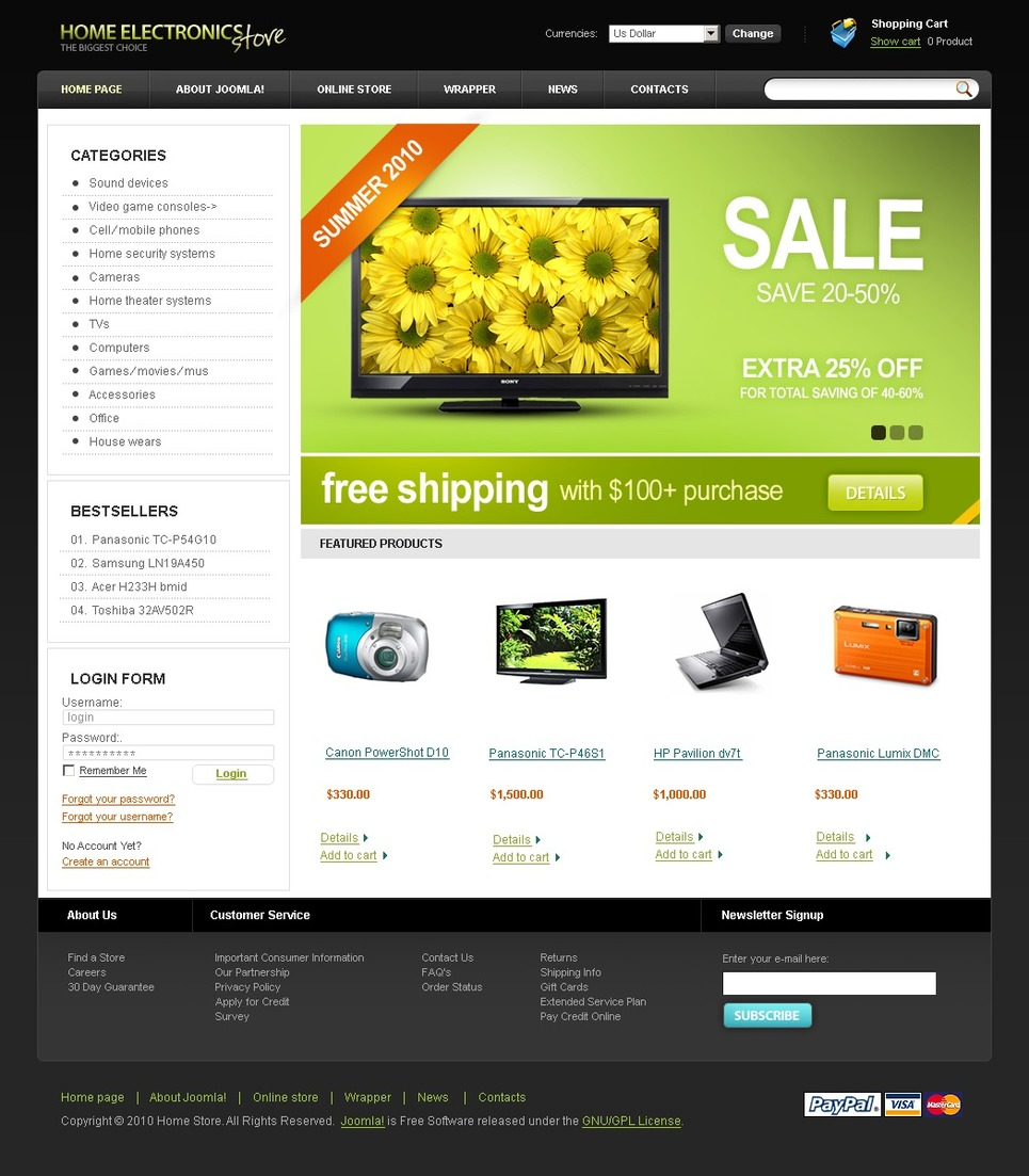 Electronics Store VirtueMart Template New Screenshots BIG
