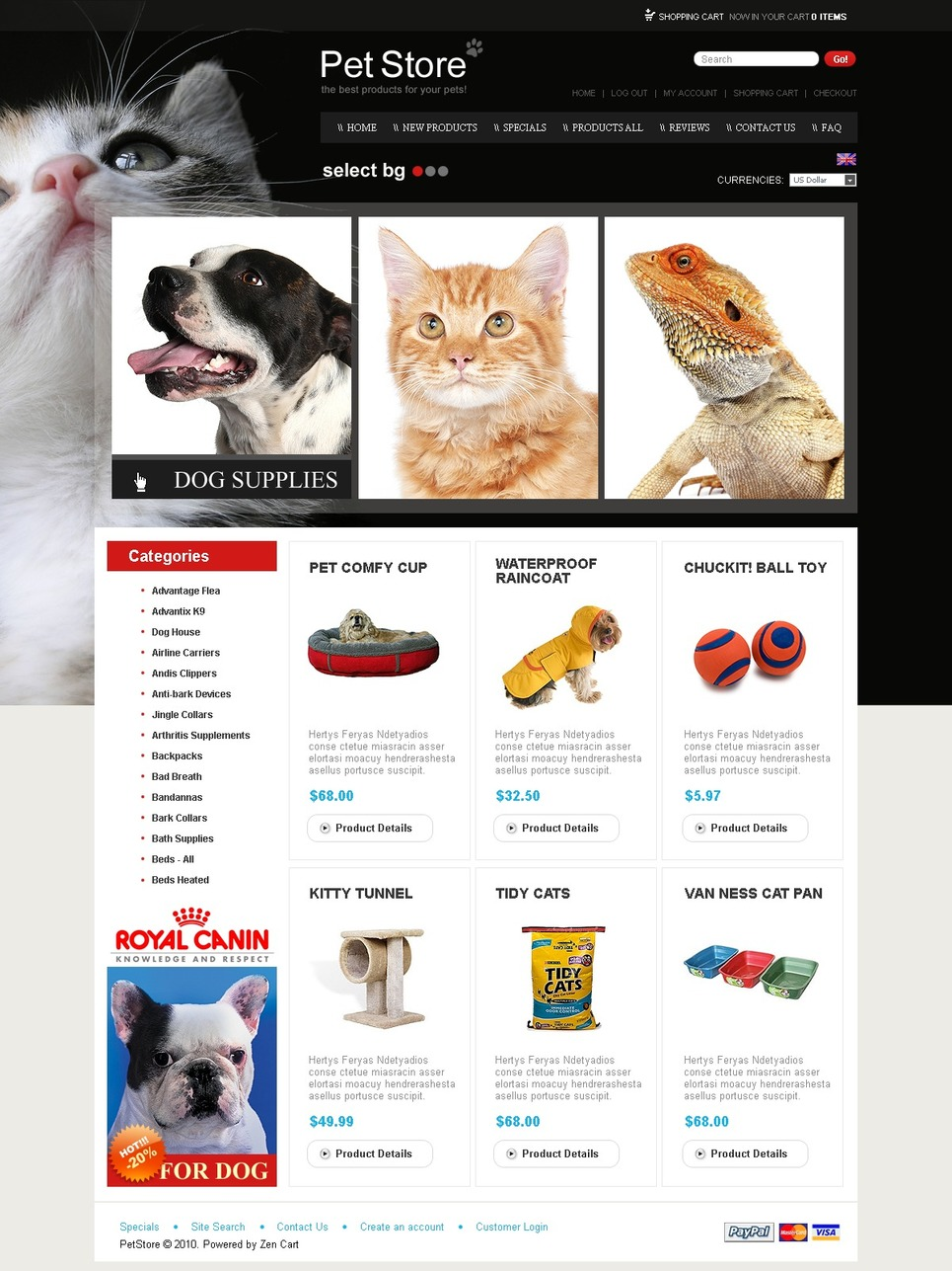 Pet Shop ZenCart Template New Screenshots BIG