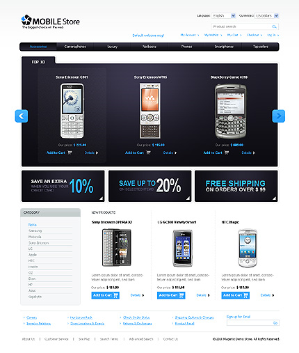 Mobile store - Ultimate Electronic Store Magento Theme