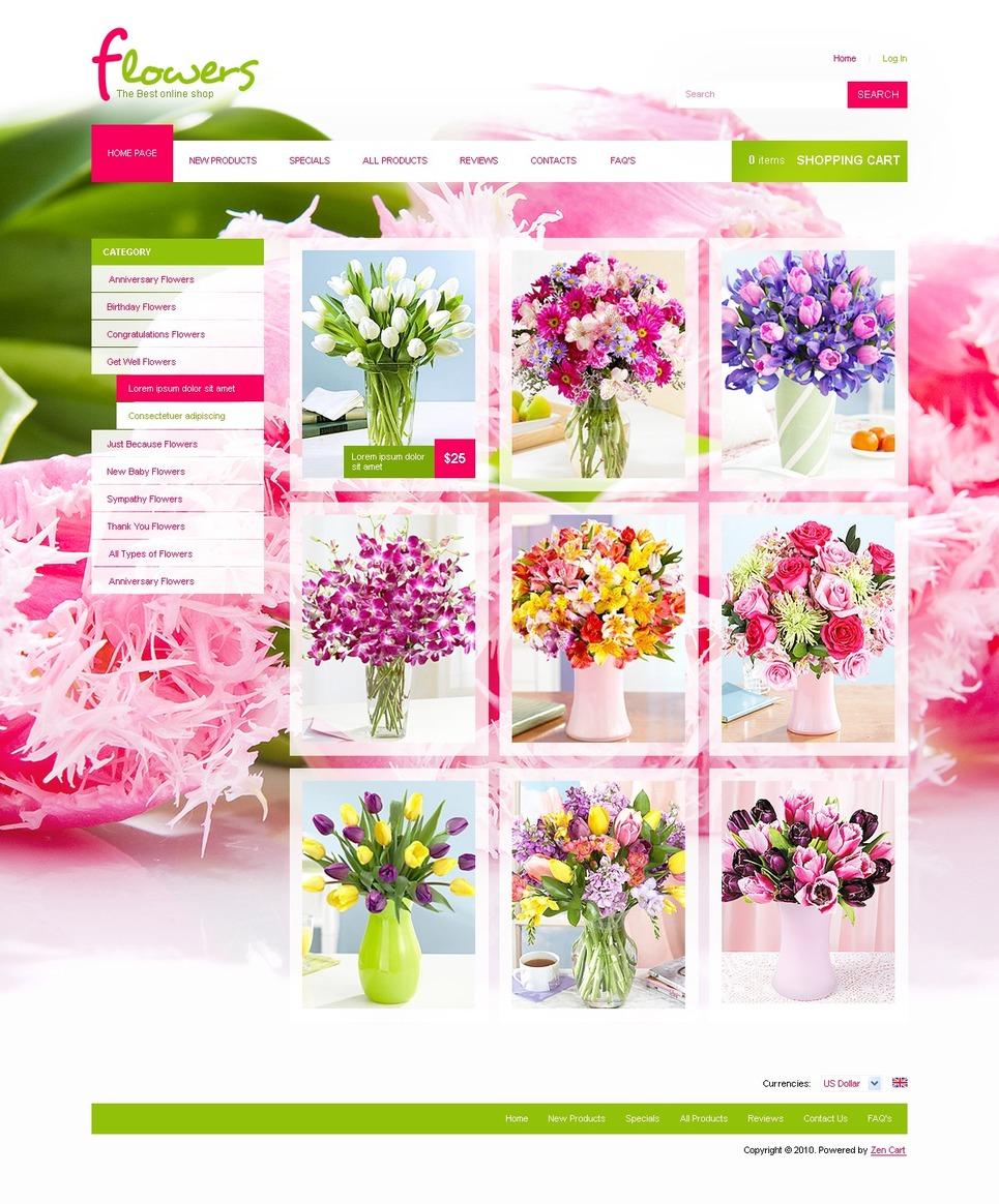 Flower Shop ZenCart Template New Screenshots BIG