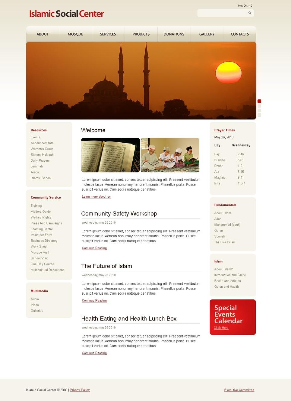 Islamic Social Center Website Template New Screenshots BIG