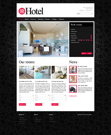 Заказ создания сайта или интернет магазина на тему Отели, на основании шаблона №29496.