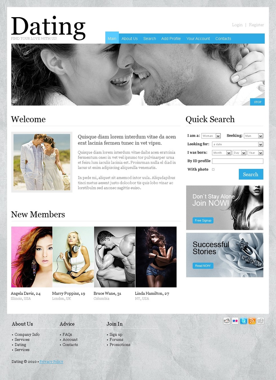 Html templates for dating sites