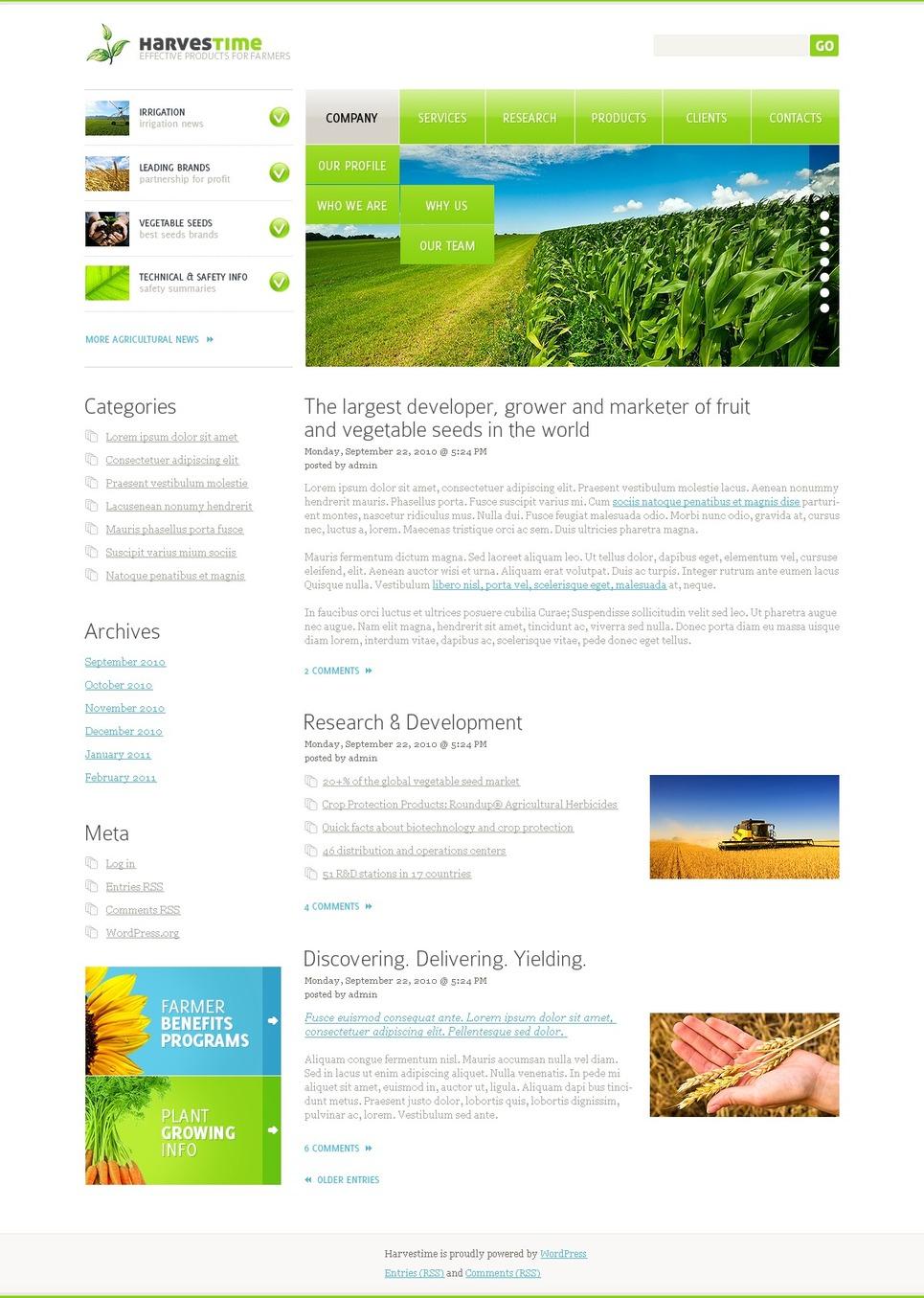 Agriculture WordPress Theme New Screenshots BIG