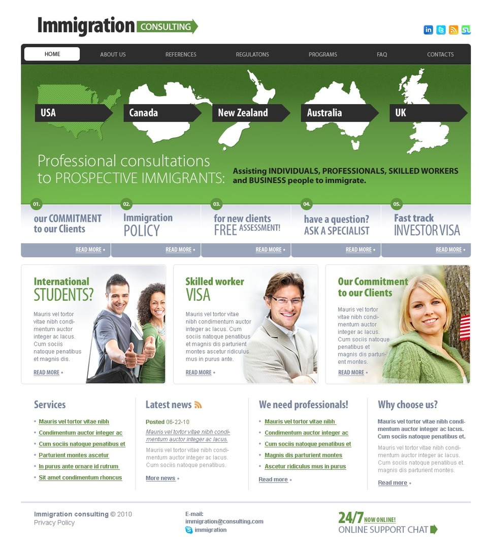 Immigration consulting website template 29661 for Consulting website