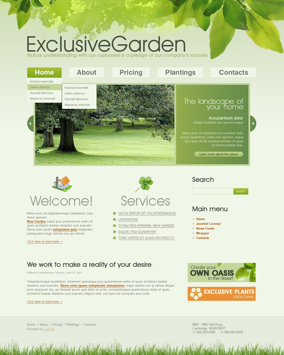 Garden Design Joomla Template Web Design Templates
