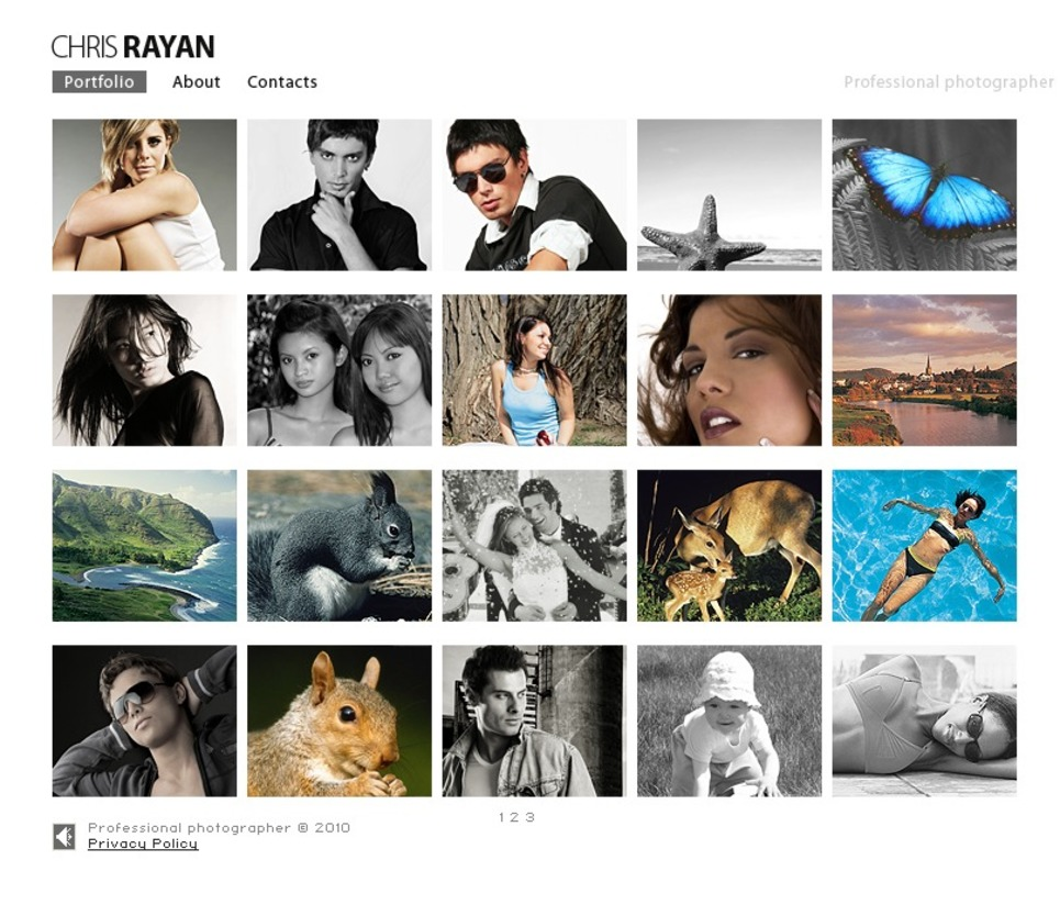 Photographer Portfolio SWiSH Template New Screenshots BIG