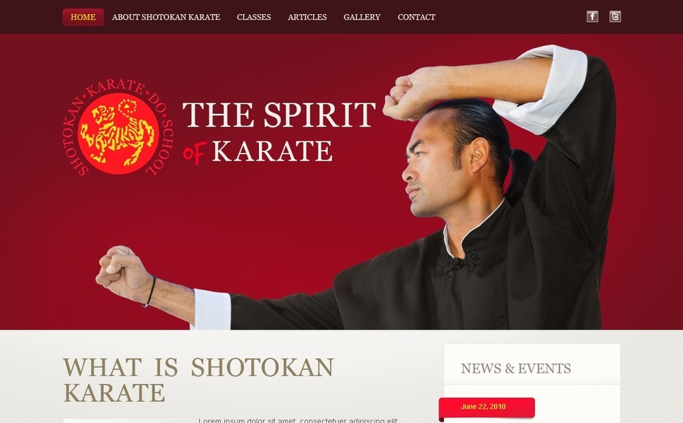 Martial Arts Website Template New Screenshots BIG