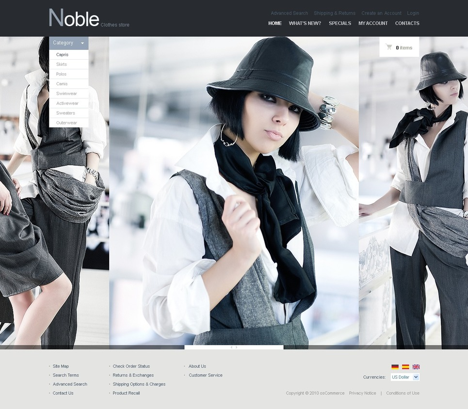 Noble Clothes Fashion Store OsCommerce Template