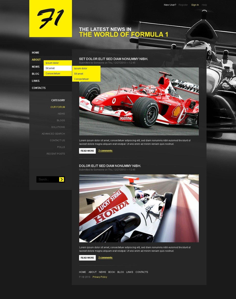Car Racing Drupal Template New Screenshots BIG