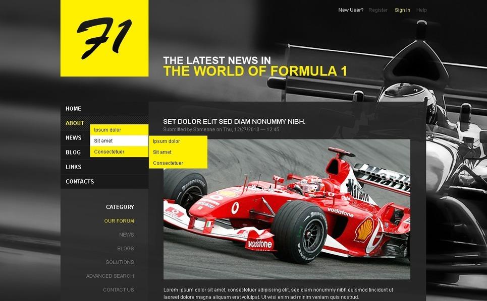 Car Racing Drupal Template New Screenshots BIG