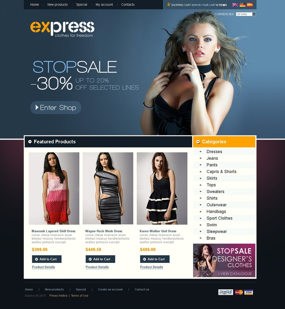 Fashion Clothes For Freedom OsCommerce Template