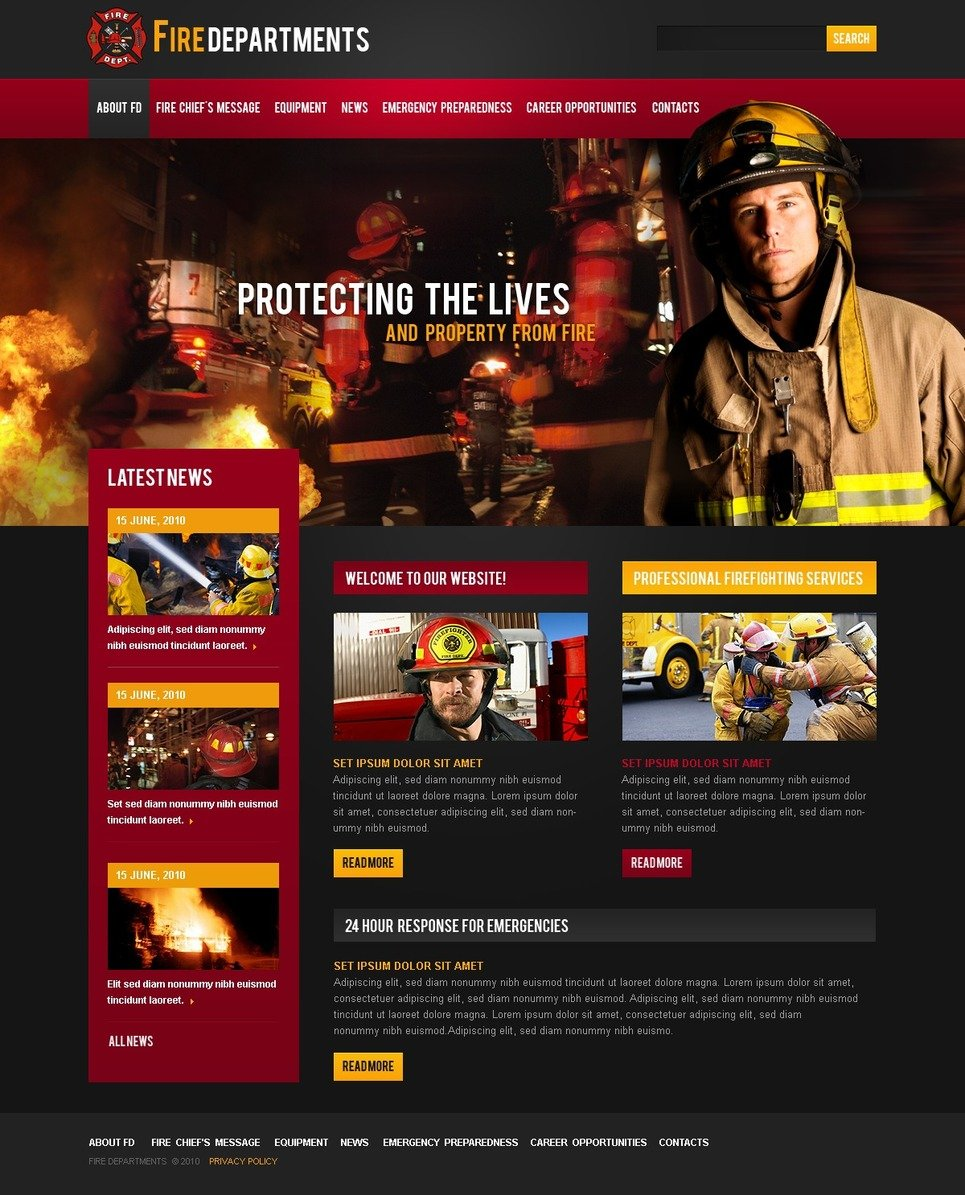 Fire Department Website Template New Screenshots BIG