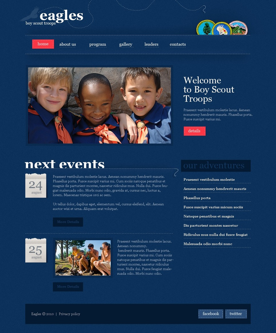 Boy Scout Website Template New Screenshots BIG
