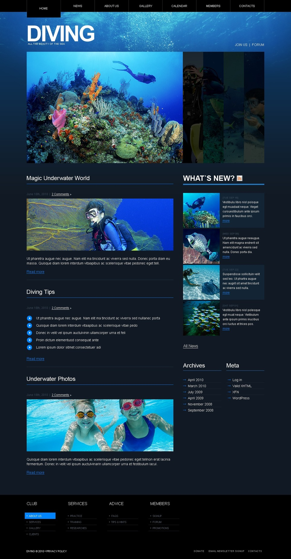 Diving WordPress Theme New Screenshots BIG