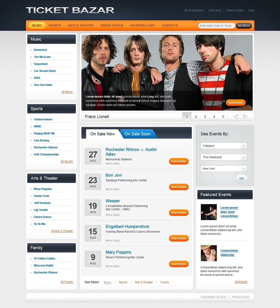 Tickets Website Website Template New Screenshots BIG