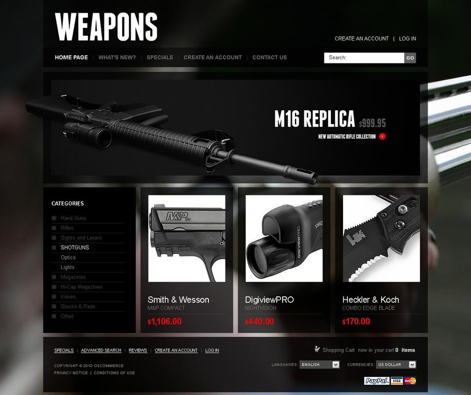 Gun Shop OsCommerce Template New Screenshots BIG