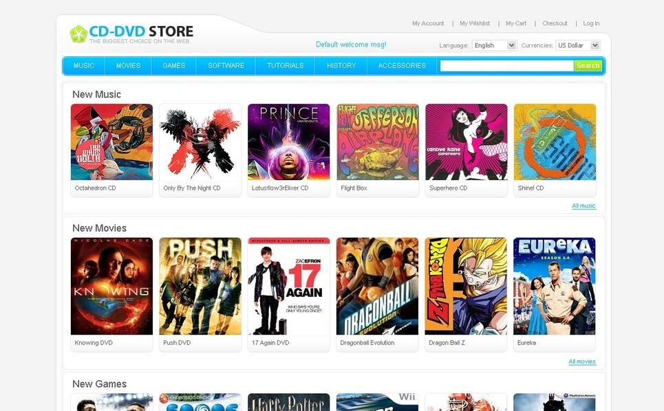 DVD Store Magento Theme New Screenshots BIG