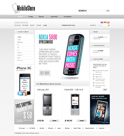 Mobile store - Classy Electronic Store Magento Theme