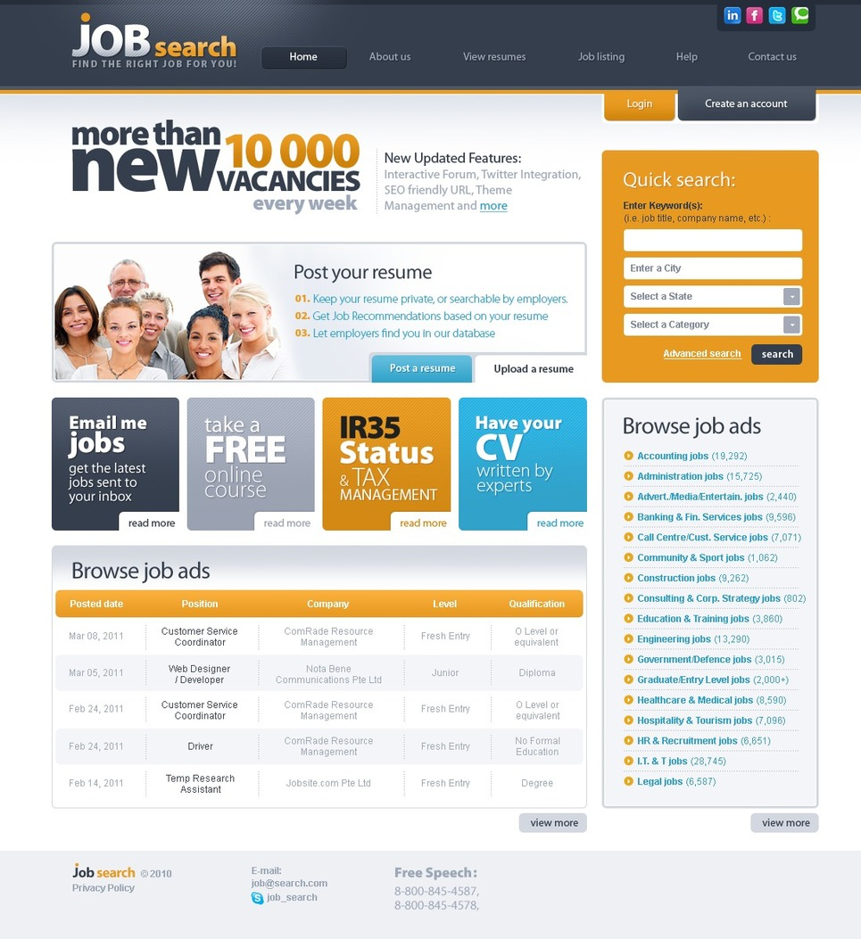 Job portal website template 30422 for Home design website free