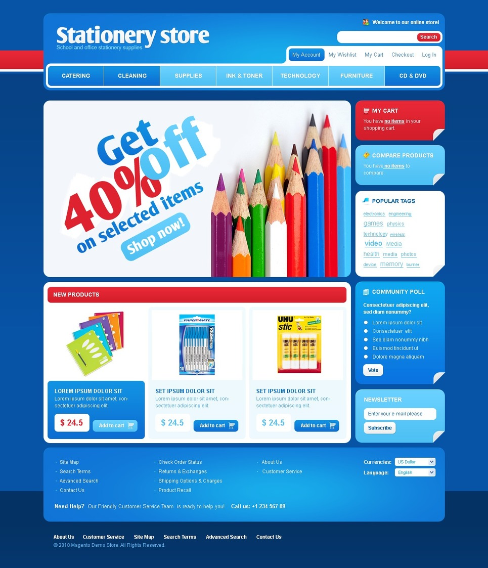 Stationery Magento Theme New Screenshots BIG