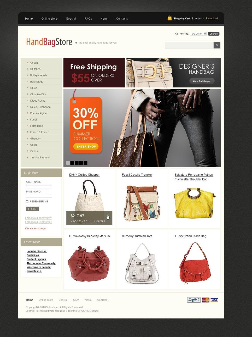 Handbag VirtueMart Template New Screenshots BIG