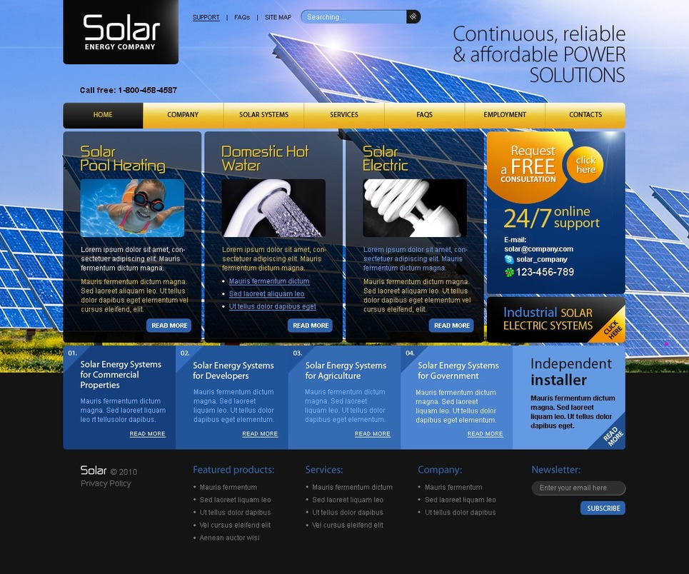Solar Energy Website Template 30744