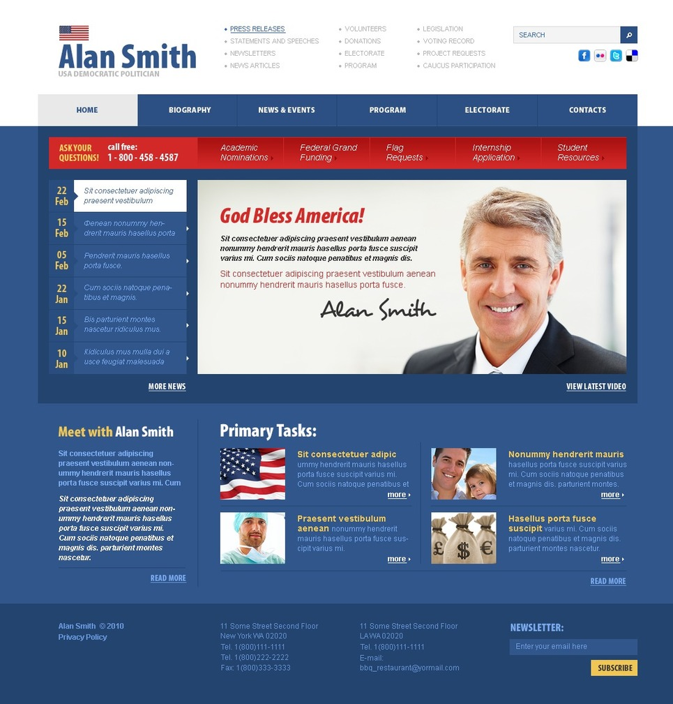 Political Candidate Website Template - Web Design Templates ...