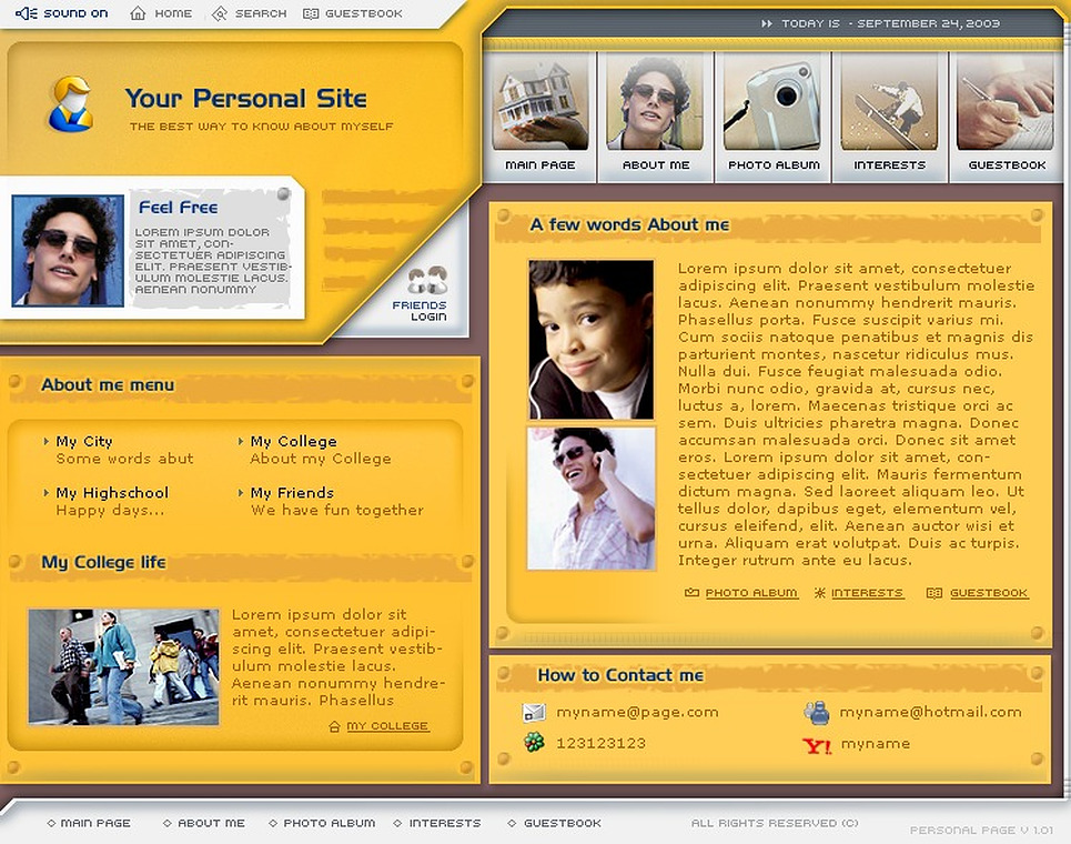 Personal Page Flash Template New Screenshots BIG