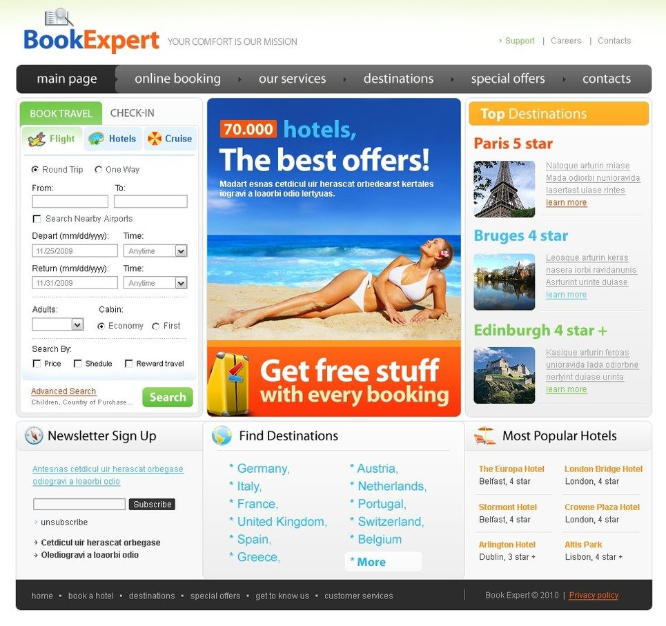 Travel Agency PSD Template New Screenshots BIG