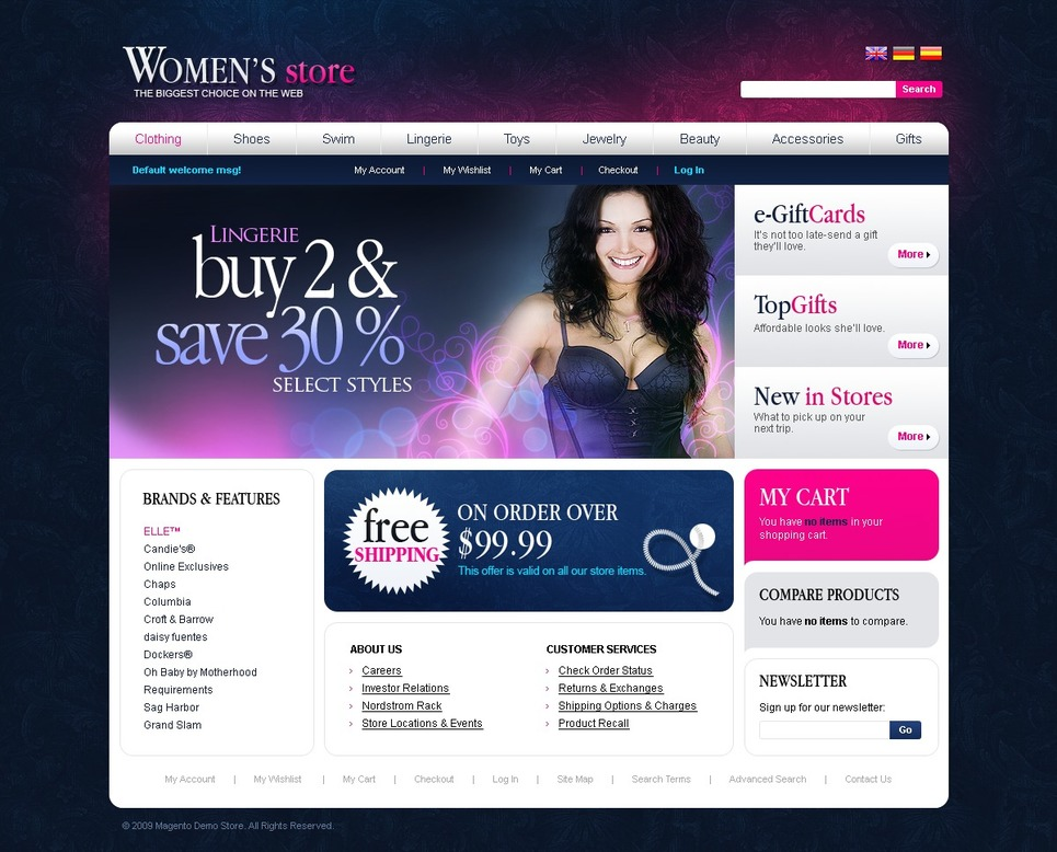 Lingerie Magento Theme New Screenshots BIG