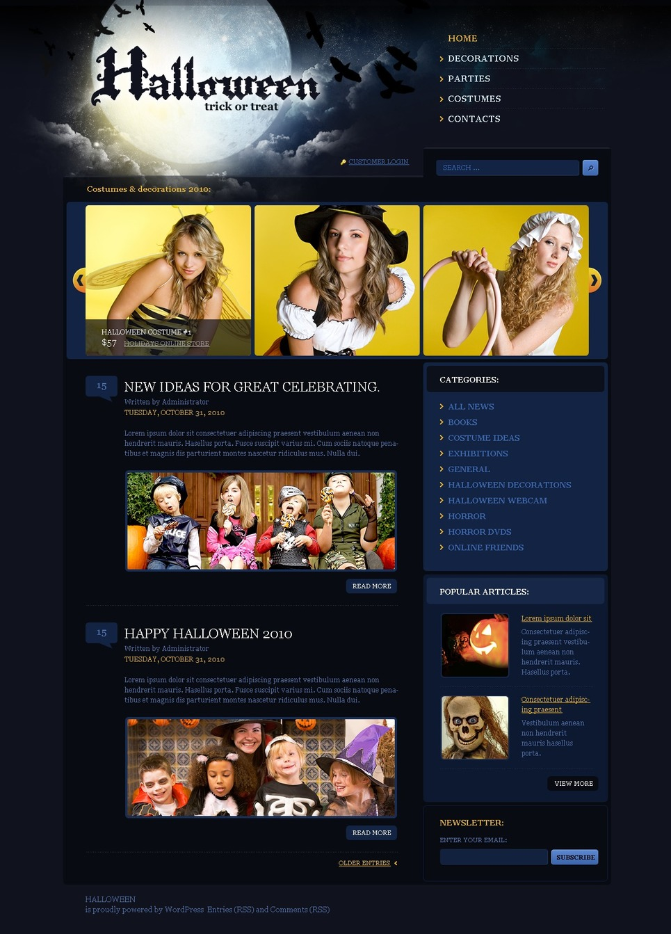 Halloween WordPress Theme New Screenshots BIG