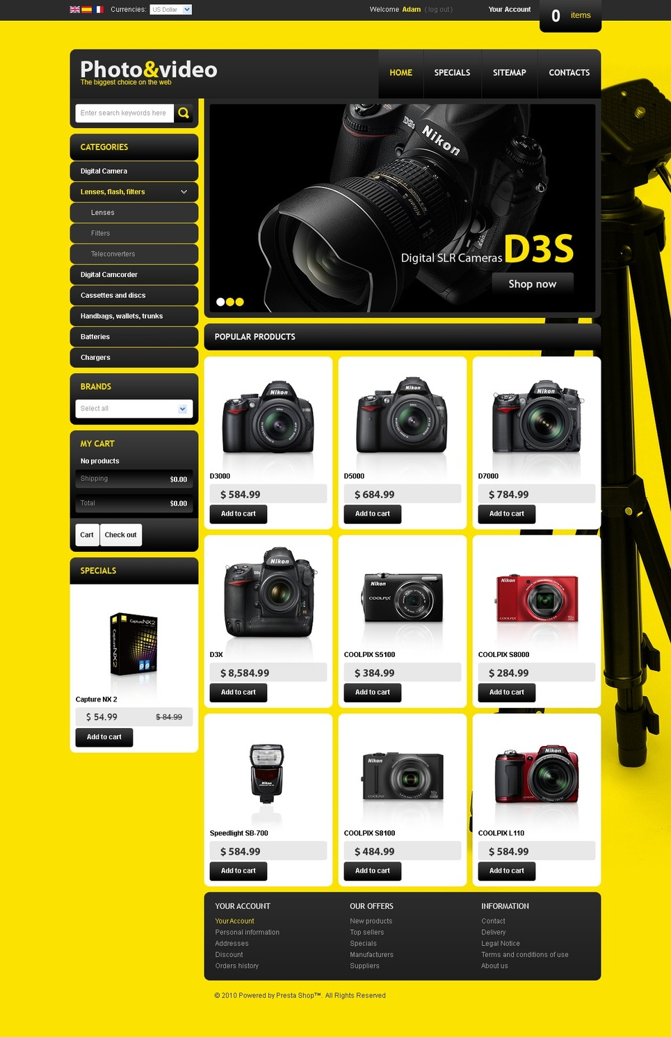 Shiny camera store PrestaShop Theme New Screenshots BIG