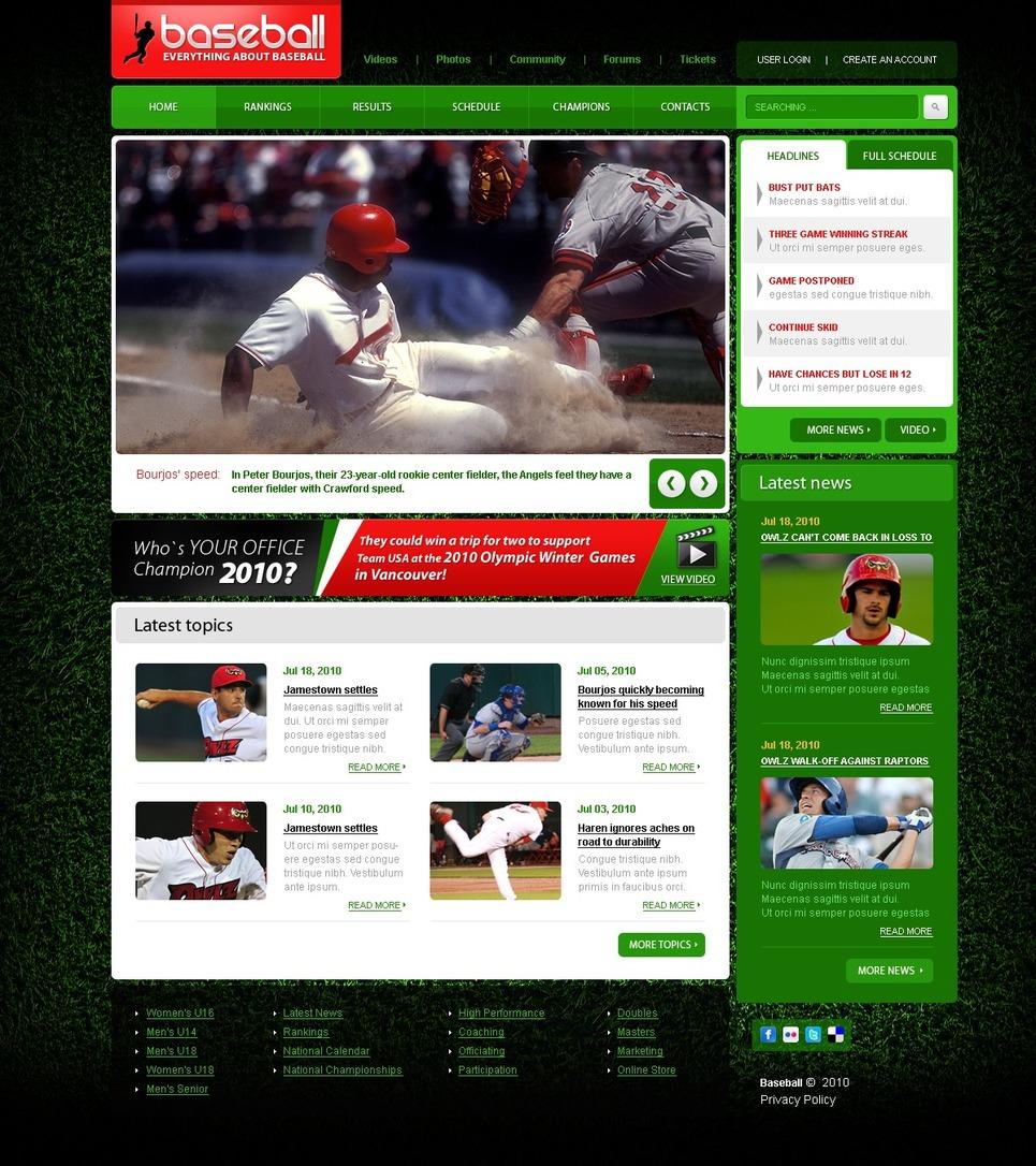 Baseball Newsletter Template Baseball Website Template