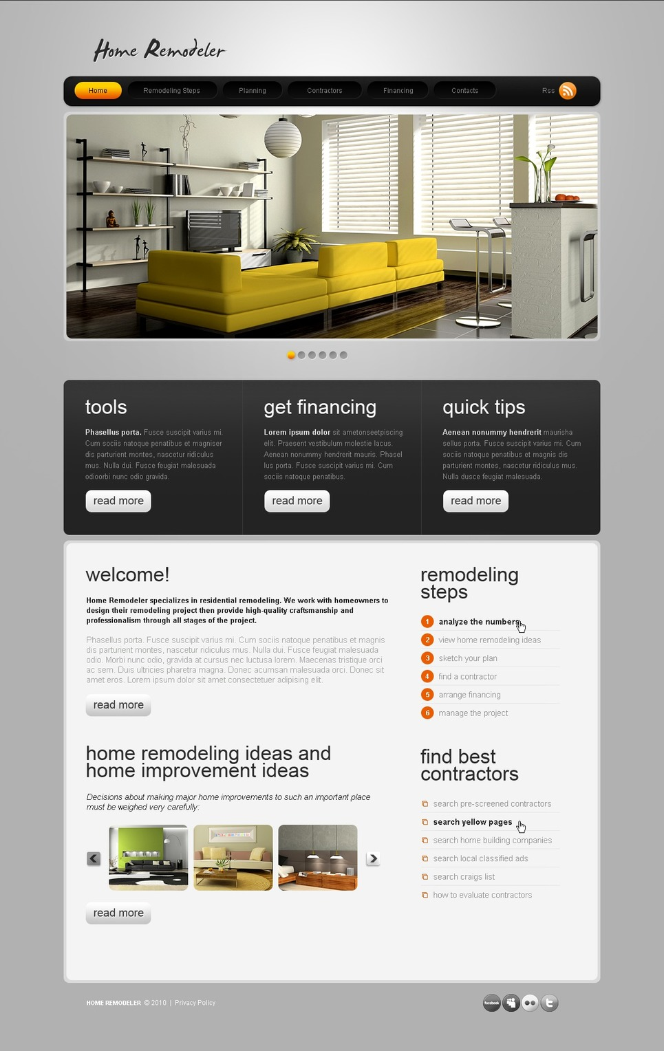 home remodeling website template - web design templates, website