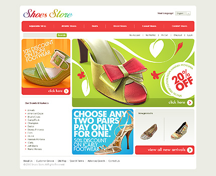 Shoe store - Desirable Footwear Store Magento Template
