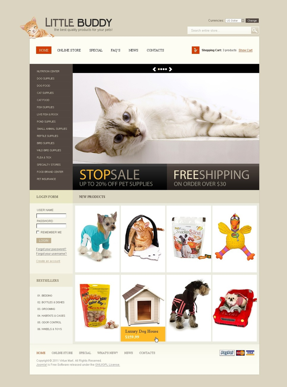 Pet Shop VirtueMart Template New Screenshots BIG