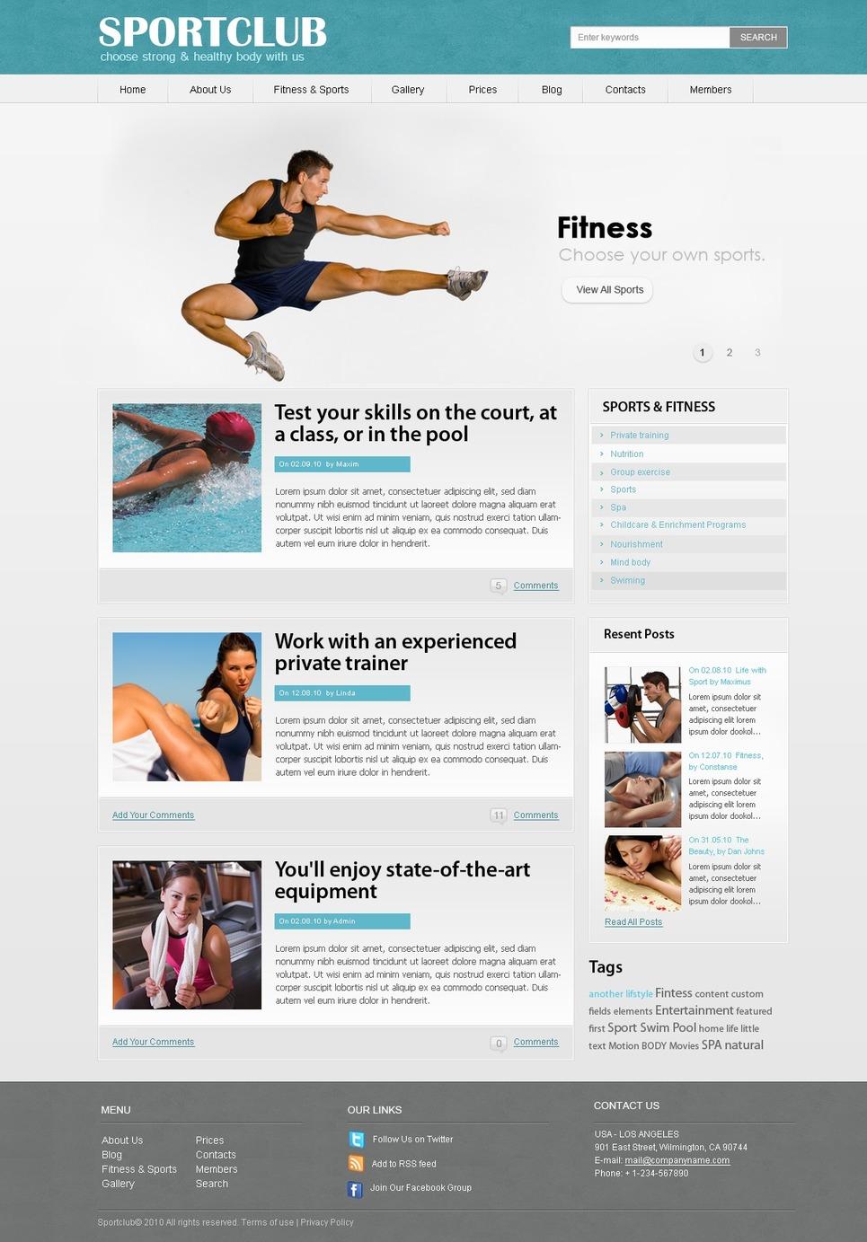 Fitness WordPress Theme New Screenshots BIG