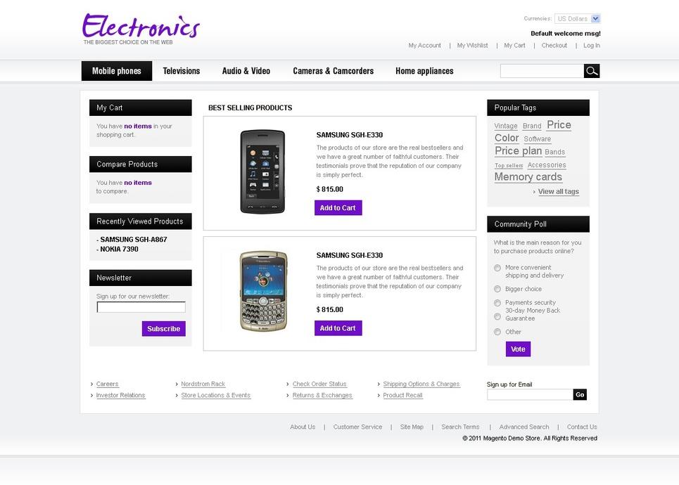 Elegant Electronics Store Magento Theme