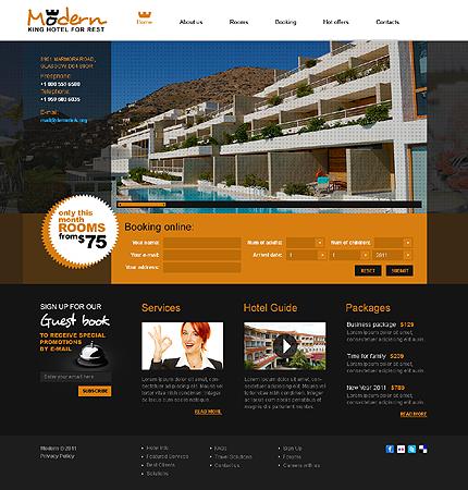 Заказ создания сайта или интернет магазина на тему Отели, HTML 5, на основании шаблона №32458.